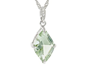 Green Prasiolite Rhodium Over Sterling Silver Pendant with Chain. 3.89ctw