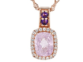 Pink Kunzite 18k Rose Gold Over Silver pendant With chain 2.53ctw