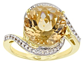 Champagne Quartz 18k Yellow Gold Over Silver Ring 5.54ctw