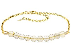 Brown Champagne Quartz 18K Yellow Gold Over Sterling Silver Beaded Bracelet.