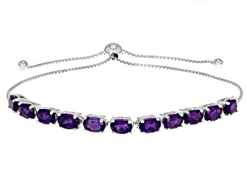 Picture of Purple African Amethyst Rhodium Over Sterling Silver Bolo Bracelet. 3.36ctw
