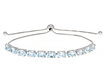 Picture of Blue Topaz Rhodium Over Sterling Silver Bolo Bracelet. 5.04ctw