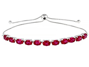 Red Lab Created Ruby Rhodium Over Sterling Silver Adjustable Bolo Bracelet. 5.34ctw