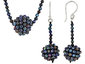 Rainbow Spinel Rhodium Over Sterling Silver Necklace, Earrings Set