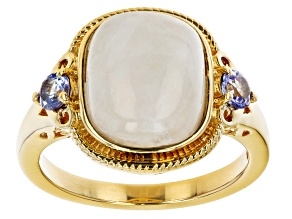 White Rainbow Moonstone 18K Yellow Gold Over Sterling Silver Ring. 0.30ctw