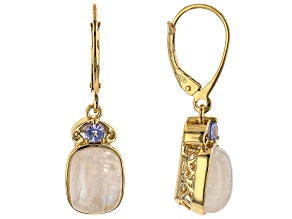 White Rainbow Moonstone Rhodium Over Sterling Silver Earrings. 0.12ctw