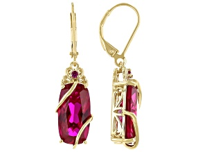Red Lab Created Ruby 18k Yellow Gold Over Silver Dangle Earrings 10.59ctw