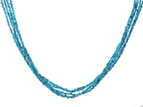Blue Apatite Rhodium Over Sterling Silver Beaded Necklace