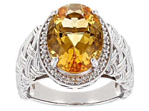 Yellow Citrine Rhodium Over Sterling Silver Ring. 4.28ctw