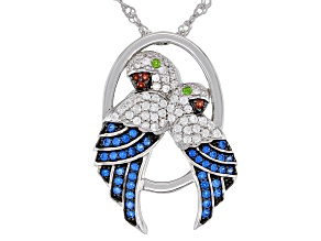 Blue Lab Created Spinel Rhodium Over Sterling Silver Parrot Pendant With Chain 0.88ctw