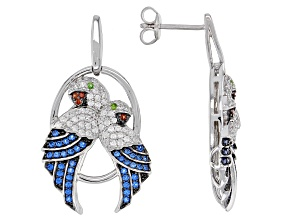 Blue Lab Created Spinel Rhodium Over Sterling Silver Parrot Earrings. 1.35ctw