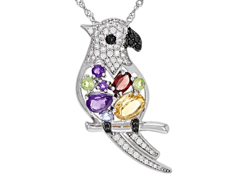 Yellow Citrine Rhodium Over Sterling Silver Parrot Pendant With Chain. 3.34ctw