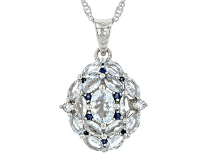 Blue Aquamarine Rhodium Over Sterling Silver Pendant With Chain. 2.18ctw