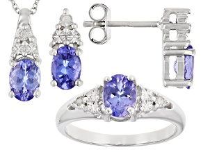 Tanzanite Rhodium Over Sterling Silver Pendant With Chain, Earring, And Ring Set 2.04ctw.