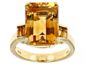 Yellow Citrine 18k Yellow Gold Over Sterling Silver Ring 7.14ctw