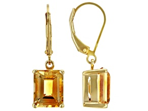 Yellow Citrine 18K Yellow Gold Over Sterling Silver Dangle Earrings