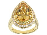 Yellow Citrine 18k Yellow Gold Over Sterling Silver Ring 4.09ctw