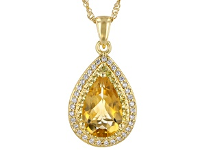 Yellow Citrine 18k Yellow Gold Over Sterling Silver Pendant With Chain 4.09ctw