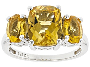 Yellow Citrine Rhodium Over Sterling Silver Ring 3.66ctw