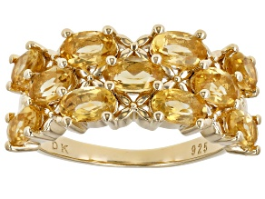 Oval Golden Citrine 18k Yellow Gold Over Sterling Silver Ring 1.96ctw
