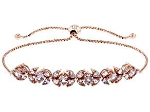 Color Shift Garnet, 18K Rose Gold over sterling Silver bolo bracelet. 2.98ctw