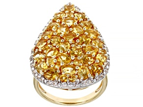 Yellow Citrine 18K Yellow Gold Over Silver Ring 4.44ctw