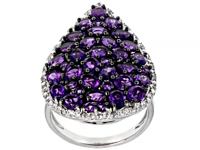 Purple Amethyst Rhodium Over Sterling Silver Ring 5.21ctw