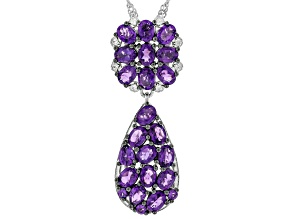 African Amethyst With White Zircon Rhodium Over Sterling Silver Pendant With Chain 2.87ctw.