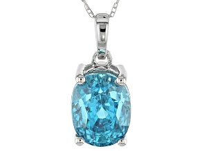 Blue Zircon 10k White Gold Pendant With Chain 4.02ct