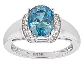 Blue Zircon 10k White Gold Ring 3.00ctw