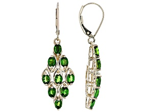 Green Chrome Diopside 10k Yellow Gold Earrings 2.75ctw