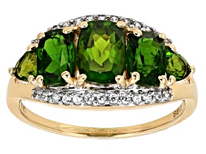 Green Chrome Diopside 10k Yellow Gold Ring 2.31ctw.