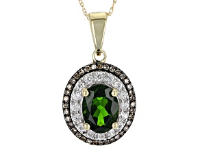 Green Chrome Diopside 10k Yellow Gold Pendant With Chain 1.60ctw