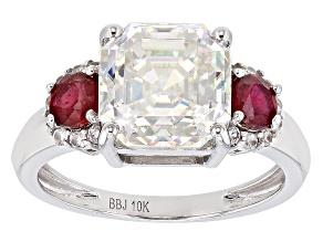Fabulite Strontium Titanate and Mahaleo Ruby With White Zircon 10k White Gold Ring 5.62ctw