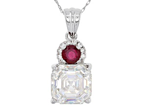 Fabulite Strontium Titanate, Mahaleo Ruby and White Zircon 10k White Gold Pendant With Chain 5.09ctw