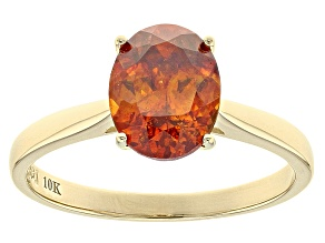 Orange Sphalerite Solitaire 10K gold Ring  2.12ct