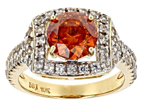 Orange Sphalerite 10K gold Ring 3.19ctw