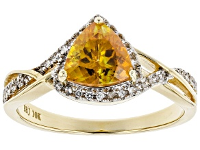 Orange sphalerite 10k gold ring 1.46ctw