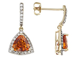 Orange sphalerite 10K yellow gold dangle earrings  2.21ctw