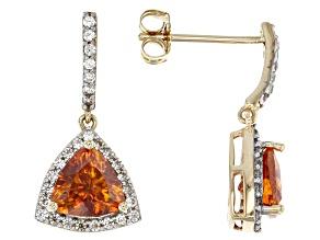 Orange sphalerite 10K yellow gold dangle earrings  2.21ctw