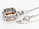 Orange Sphalerite 10K white gold pendant with chain  2.27ctw