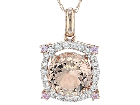 Pink Morganite 10k Rose Gold Pendant With Chain 2.35ctw
