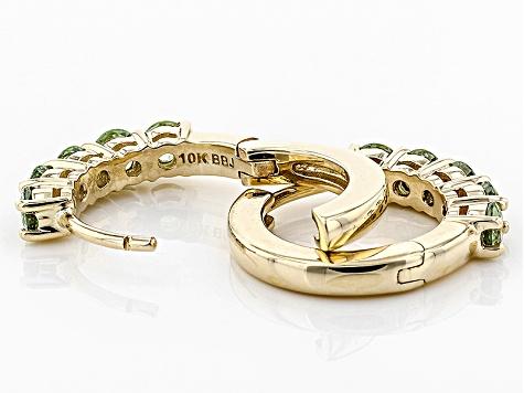 Green Demantoid Garnet 10k Yellow Gold Huggie Hoop Earrings 1 27ctw