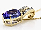 Blue Tanzanite 10k Yellow Gold Pendant With Chain 1.54ctw