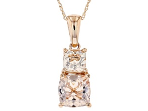 Pink Morganite 10k Rose Gold Pendant With Chain 1.67ctw