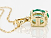 Green Ethiopian Emerald 10k Yellow Gold Pendant With Chain .98ct
