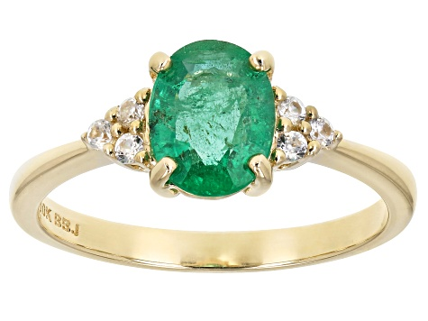 Green Ethiopian Emerald 10k Yellow Gold Ring 1.09ctw