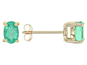 Green Ethiopian Emerald 10k Yellow Gold Earring .75ctw.