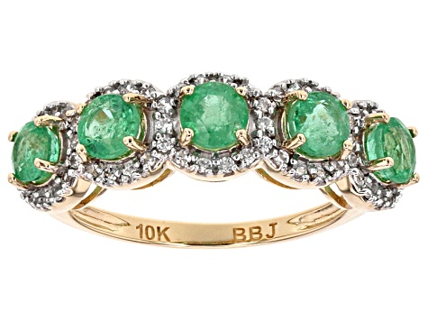 Green Ethiopian Emerald 10k Yellow Gold Ring 1.43ctw