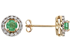 Green Ethiopian Emerald 10k Gold Earrings. .60ctw